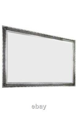 Large Silver Antique Full Length Wood Wall Mirror 6Ft7 X 4Ft7 201 x 140cm