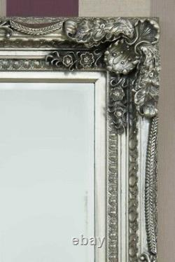 Large Silver Antique Style Wall Mirror Full Length 5Ft9 X 3Ft 175cm X 90cm