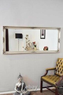 Large Silver Full Length Vintage Chic Wall Mirror 5Ft3 X 2Ft5 160cm X 74cm