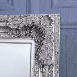 Large Silver Heavily Mirror Ornate Wall Full Length Vintage Chic 173cm x 87cm