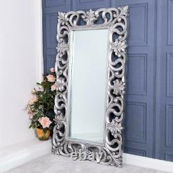 Large Silver Mirror Full Length Bedroom Hallway Home Wall Ornate 167 x 91cm