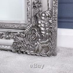 Large Silver Mirror Full Length Wall Heavily Ornate Bedroom Living Hallway