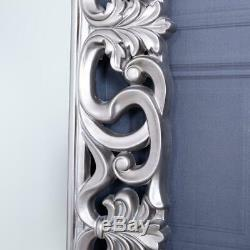 Large Silver Mirror Full Length Wall Ornate Bedroom Hallway Home 167 x 91cm