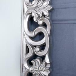 Large Silver Mirror Wall Full Length Ornate Bedroom Hallway Home 167 x 91cm