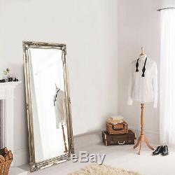 Large Silver Shabby Chic Full Length Leaner Floor Wall Mirror 48 x 143 cm New