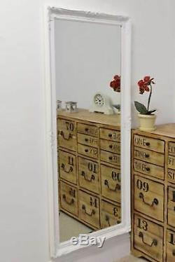 Large Wall Mirror Shabby Chic White Bevelled Full Length 5Ft6 X 2Ft6 168cmX76cm