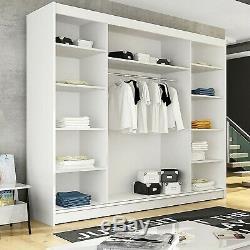 Large Wardrobe Sliding Door Mirrors LED Rail Shelves 5 Colours Closet 250cm NEW