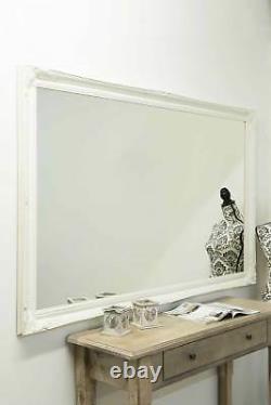 Large White Antique Full Length long Wall Mirror 5Ft6 X 3Ft6 167cm x 106cm