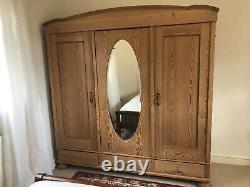 Large antique pine wardrobe 3 Doors Triple