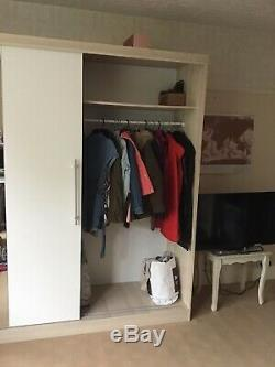 Large two door sliding wardrobe white/wood with mirror 220(h) x 201(w) x 60(d)