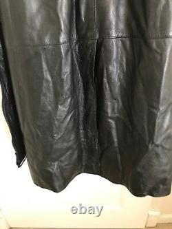 Loewe Black Leather Full Length Trench Coat L/XL Vintage Mafia 80 Matrix