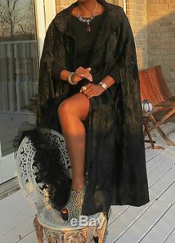 Long Full length Designer Black Russian broadtail Fur Cape Coat Jacket L-XL14-20