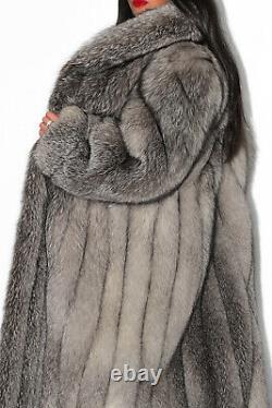 Long Silver Blue Shadow Frost Real Saga Fox Fur Coat Full Length Indigo Jacket L