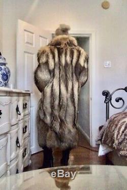 Luxurious Tanuki Fur Ladies Full Length Coat M/L