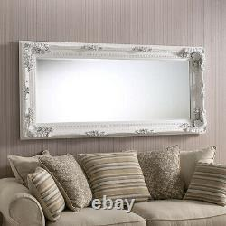 Madrid Extra-Large Full Length Shabby Chic Vintage Leaner Mirror in White 35x71