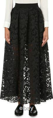 Maje Jared Lace Floral Embroidered Perforated Maxi Skirt Black Sz 3 $470 / NWT