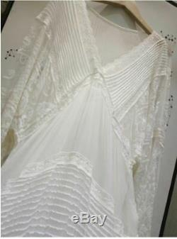 Mango Ivory Heavily Embroidered Sleeved Lace Crochet Vintage Maxi Dress S 8 10