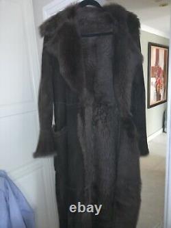 Marks And Spencer Full Length Sheepskin Coat Size L 12 14