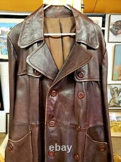 Men's Brown Lambskin Leather Full-Length Trench Coat Size. L