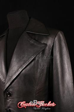Men's DRACULA Black Lambskin LARGE COLLAR Full-Length Leather Long Jacket Coat