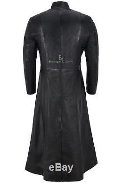 Men's FULL-LENGTH'MATRIX RELOADED' Coat Black 100% REAL LEATHER 1425