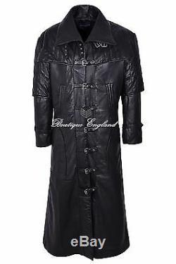 Men's Leather FULL-LENGTH Overcoat Black Captain Long Coat REAL LEATHER