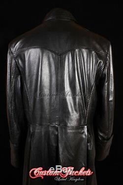 Men's MORPHEUS Black Lambskin Full-Length Leather Long TRENCH COAT Jacket