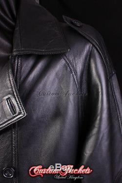 Men's OVERCOAT Black Lambskin Full Length Leather Long Jacket Long Trench Coat