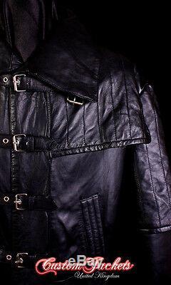 Men's VAN HELSING Black Lambskin Full-Length Leather Long Jacket Duster Coat