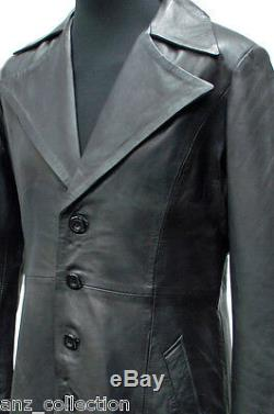 Men's Vampire Black Lambskin Leather Long Collar Full Length Long Jacket Coat