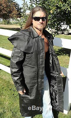 Mens Black Leather Full Length Split Cowhide Motorcycle Duster Trench Coat