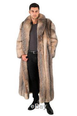 Mens Crystal Fox Fur Coat Long Full Length Overcoat 55 Large