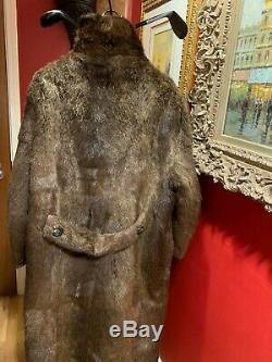 Mens Genuine Beaver Coat Full Length Gorgeous Vintage Medium Large Size 42