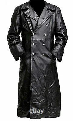 Mens German Classic Trench Coat WW2 Military Officer Uniform Black Leather Coat