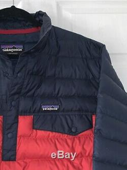 Mens Large PATAGONIA Snap-T Down Classic Red / Navy Pullover Jacket 27246 MINT