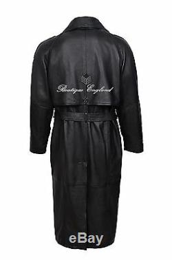 Mens Leather Trench Coat Black FULL LENGTH REAL LEATHER TRENCH COAT STYLE 6965