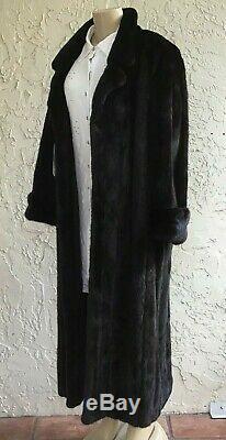 Mink Fur Coat Designer Guy Laroche Paris Full Length 49 BLACKGLAMA approx. SZ L