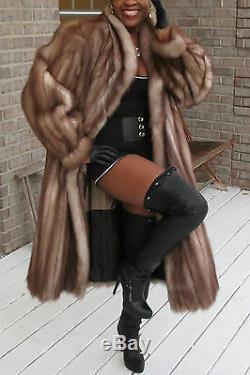 Mint Designer Full length Stone Marten Sable Fur coat Stroller Sz L-XL 10-18