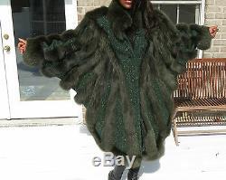 Mint Unique Full Length Green Fox Fur Coat Jacket S-L 4-14/16