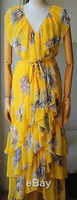 Misa Ilune Floral Print Wrap Maxi Dress Large