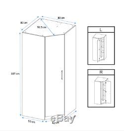 Modern Oak Effect Large Corner Wardrobe Easy Assemble 2 Hanging Rail 2 Shelf