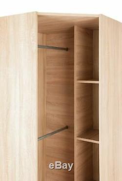 Modern Oak White Effect Large Corner Wardrobe 2 Hanging Rail 2 Shelf