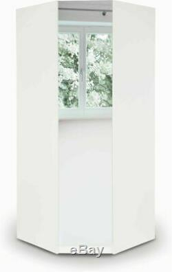 Modern White Mirrored Large Corner Wardrobe Easy Assemble 2 Hanging Rail 2 Shelf