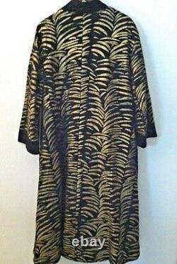 Molato Women Coat Leather Full Length Mud Cloth Duster Black Gold Suede Size L