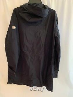 Moncler Mens Guiers Lightweight Long Wind Rain Coat NWT Size 4 LARGE Navy $995