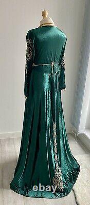 Moroccan Caftan maxi dress takchita Royal Green