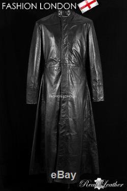 NEO' Black Men's Lambskin MATRIX Full-Length Real Leather Long Coat Jacket
