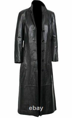 NEW Leather Trench Coat Long Coat For Men Genuine Lambskin Full Length Jacket