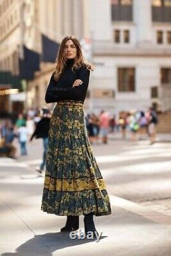 NWT Anthropologie Carolina K Midnight Maxi Skirt Turmeric Roses Size LARGE $198