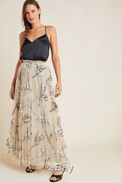 NWT Anthropologie Georgette Pleated Tulle Maxi Skirt by Geisha Designs Large